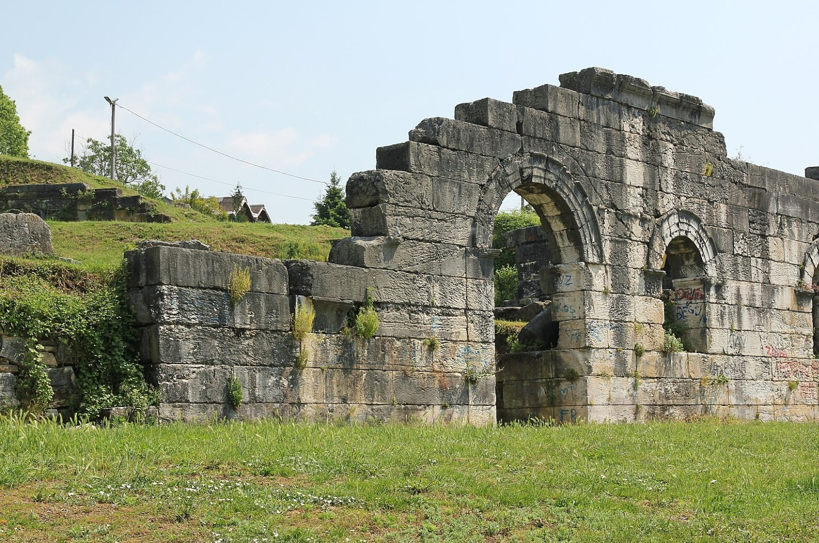 Scaenae frons, the elaborately decorated permanent architectural background of a Roman theater stage, in the ancient city of Prusias ad Hypium in Düzce, northwestern Turkey.