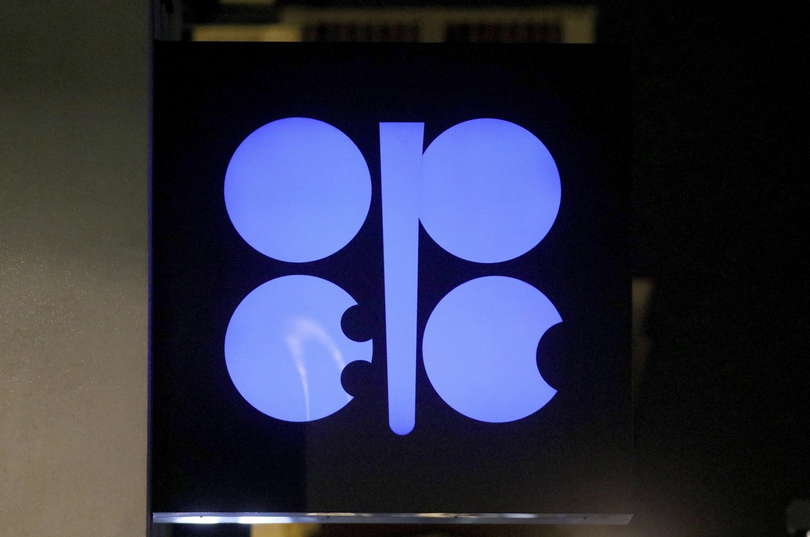 The advertising label of the Organization of the Petroleum Exporting Countries (OPEC) shines at their headquarters in Vienna, Austria, Dec. 19, 2019. (AP Photo)