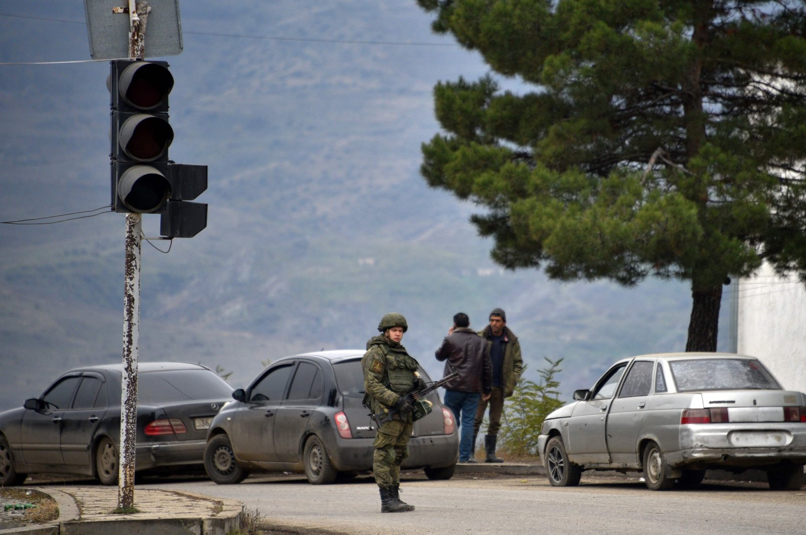 A Russian peacekeeper stands guard on a road in the town of Lachin, Azerbaijan, Dec. 1, 2020. (AFP Photo)
