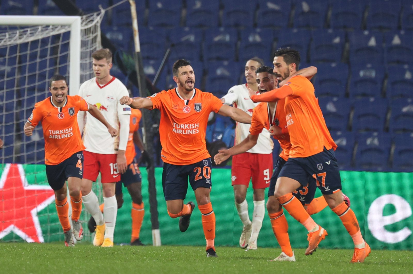 Irfan Can Kahveci (L) celebrates a goal against Leipzig with teammates, in Istanbul, Turkey, Dec. 2, 2020. (AA Photo)