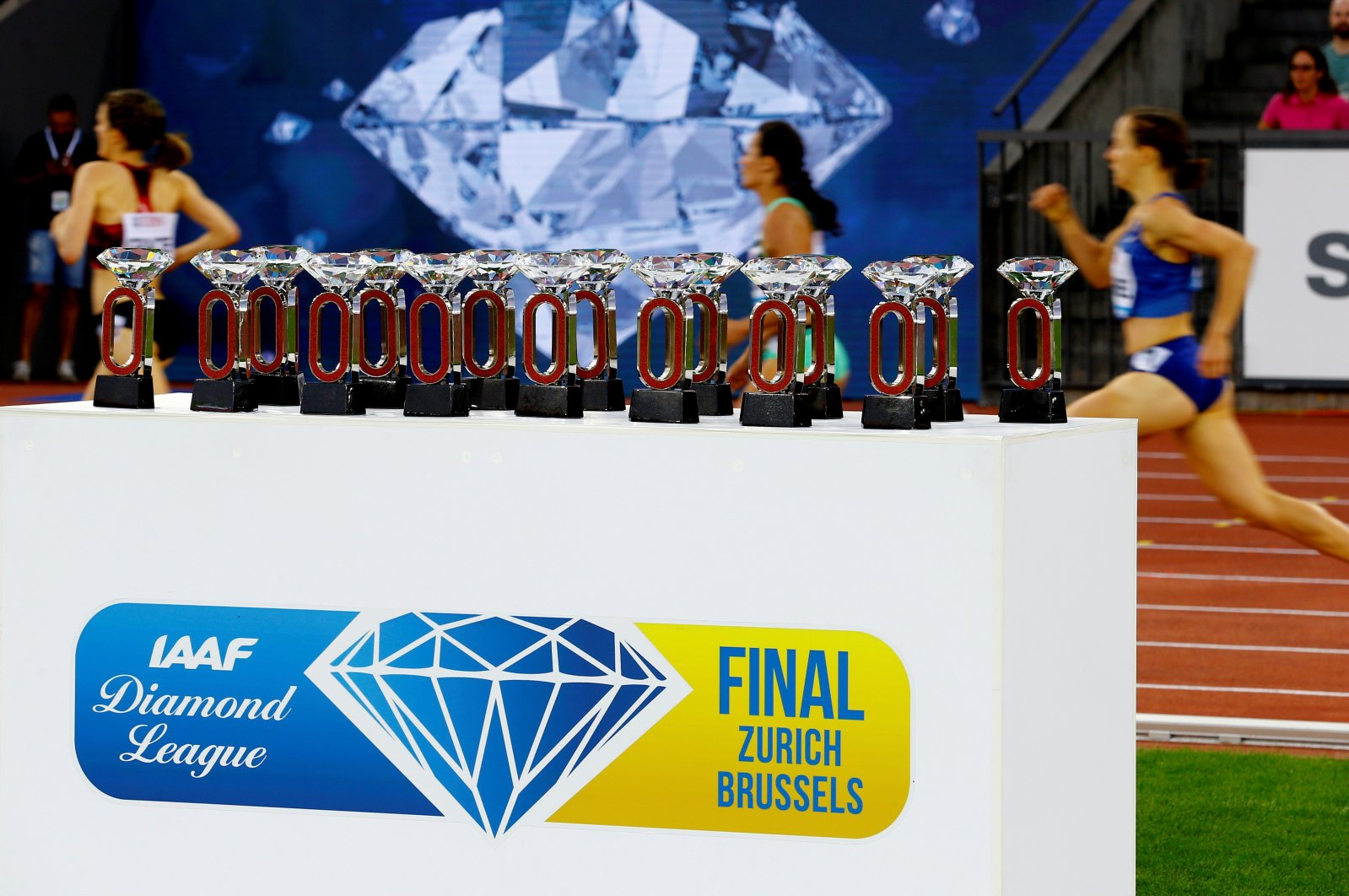 A general view of awards of the Diamond League at an event in Zurich, Switzerland, Aug. 29, 2019. (Reuters Photo)