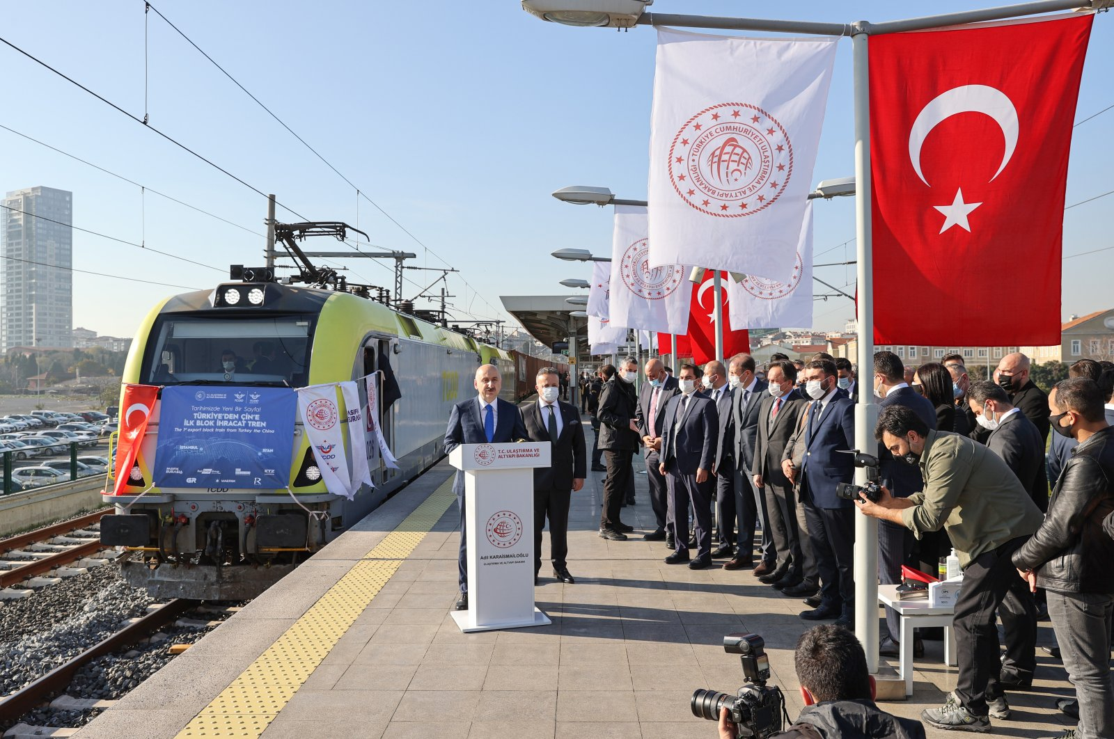 Transport and Infrastructure Minister Adil Karaismailoğlu delivers a speech during a sendoff ceremony for the first train, which will carry goods from Turkey to China, at the Kazlıçeşme station on the European side of Istanbul, Turkey, Dec. 4, 2020. (AA Photo)
