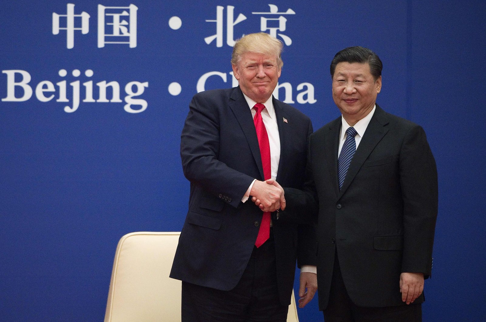 U.S. President Donald Trump and Chinese President Xi Jinping shake hands during a news conference at the Great Hall of the People (GHOP) in Beijing, China, Nov. 9, 2017. (EPA-EFE Photo)