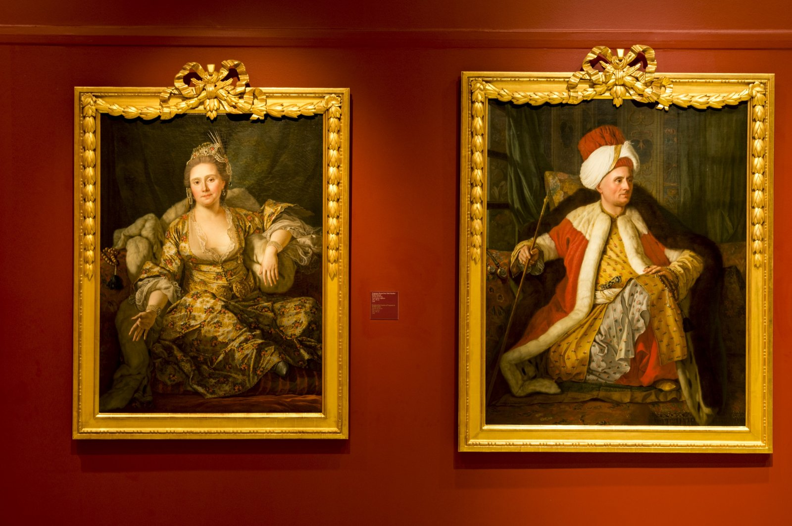 Two paintings are on display at the Pera Museum's Intersecting Worlds: Ambassadors and Painters exhibition seen in this photo provided on Dec. 4, 2020. (Photo courtesy of Pera Museum)