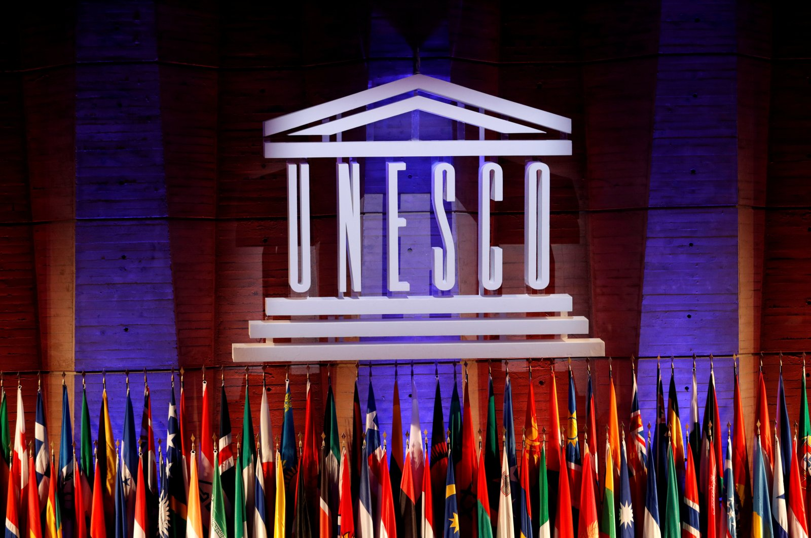 The UNESCO logo is seen during the opening of the 39th session of the General Conference of the United Nations Educational, Scientific and Cultural Organization (UNESCO) at their headquarters in Paris, France, Oct. 30, 2017. (Reuters Photo)