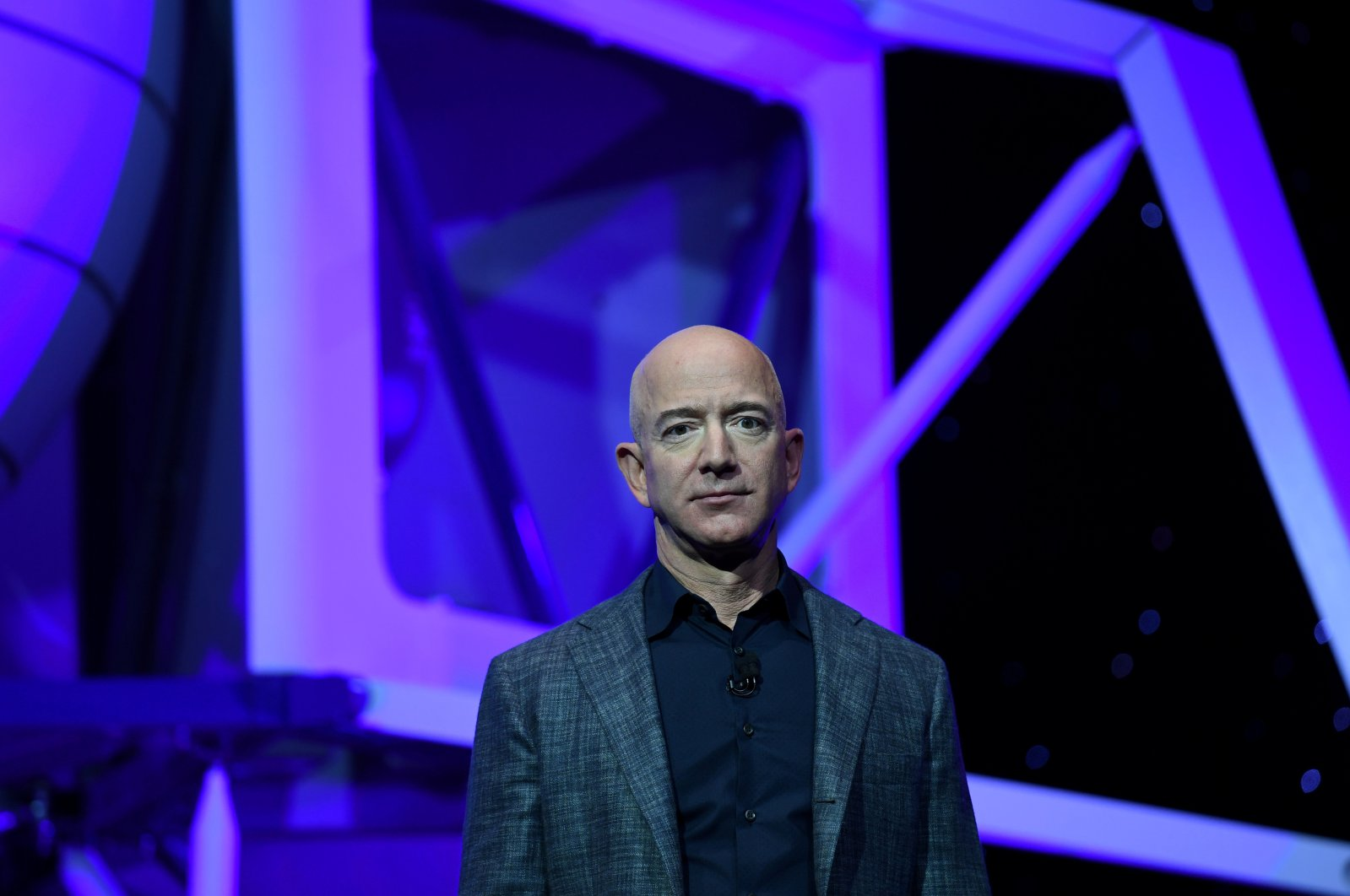 Founder, Chairman, CEO and President of Amazon Jeff Bezos unveils his space company Blue Origin's space exploration lunar lander rocket called Blue Moon during an unveiling event in Washington, U.S., May 9, 2019. (Reuters Photo)