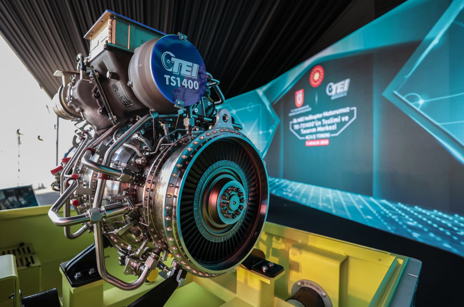 The turboshaft TEI-TS1400 engine is seen on the sidelines of a ceremony in the central province of Eskişehir, Dec. 5, 2020. (AA Photo)