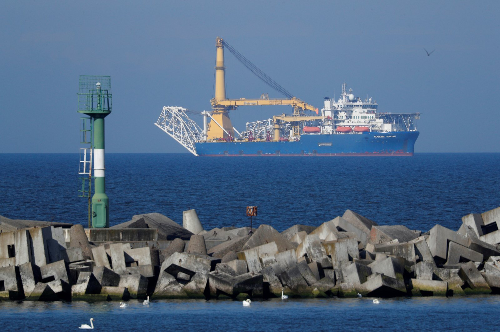 The pipe-laying vessel Akademik Cherskiy owned by Gazprom, which Russia may use to complete construction of the Nord Stream 2 gas pipeline, in a bay near the Baltic Sea port of Baltiysk, Kaliningrad region, Russia, May 3, 2020. (Reuters Photo)