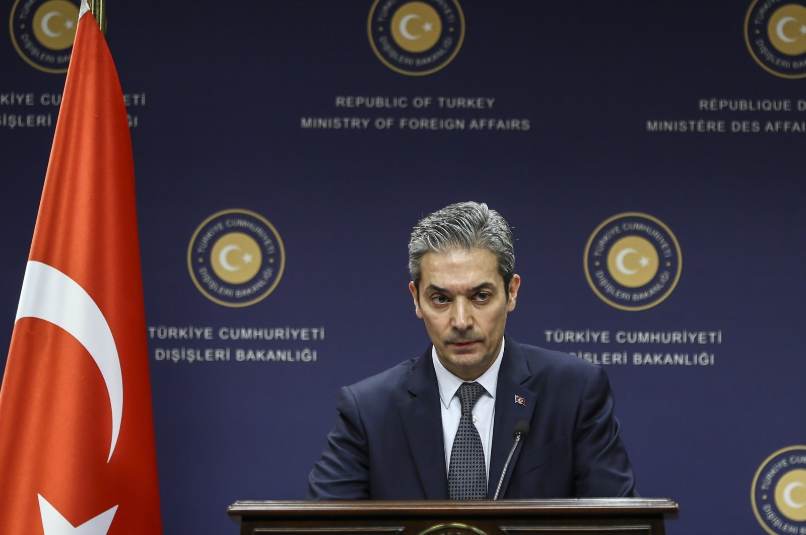 Foreign Ministry Spokesperson Hami Aksoy speaks to reporters at a news conference in the capital Ankara on March 1, 2018. (AA File Photo)