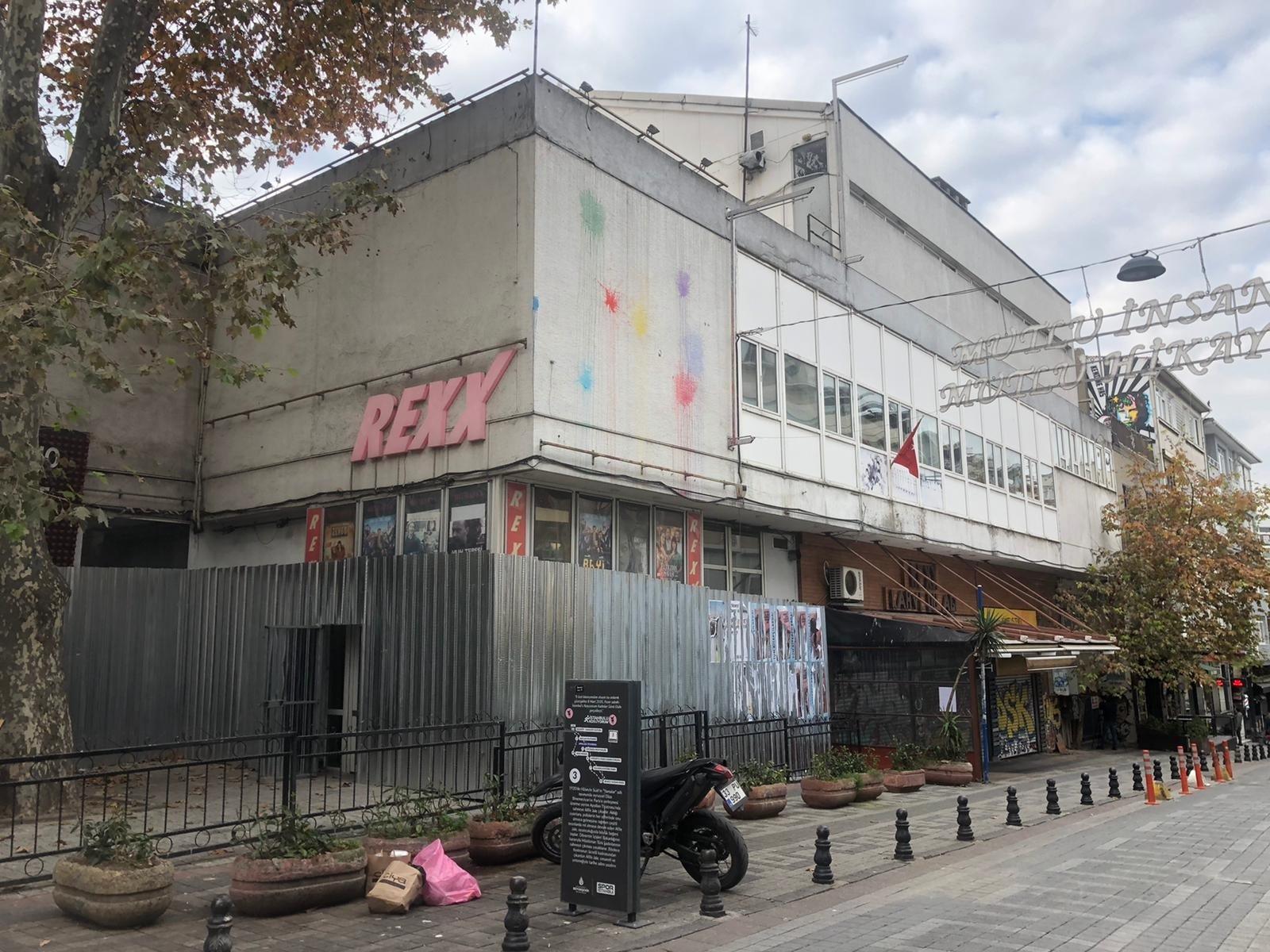Metal sheets are seen around the Rexx Cinema in Kadıköy, Istanbul, Dec. 7, 2020. (DHA PHOTO)