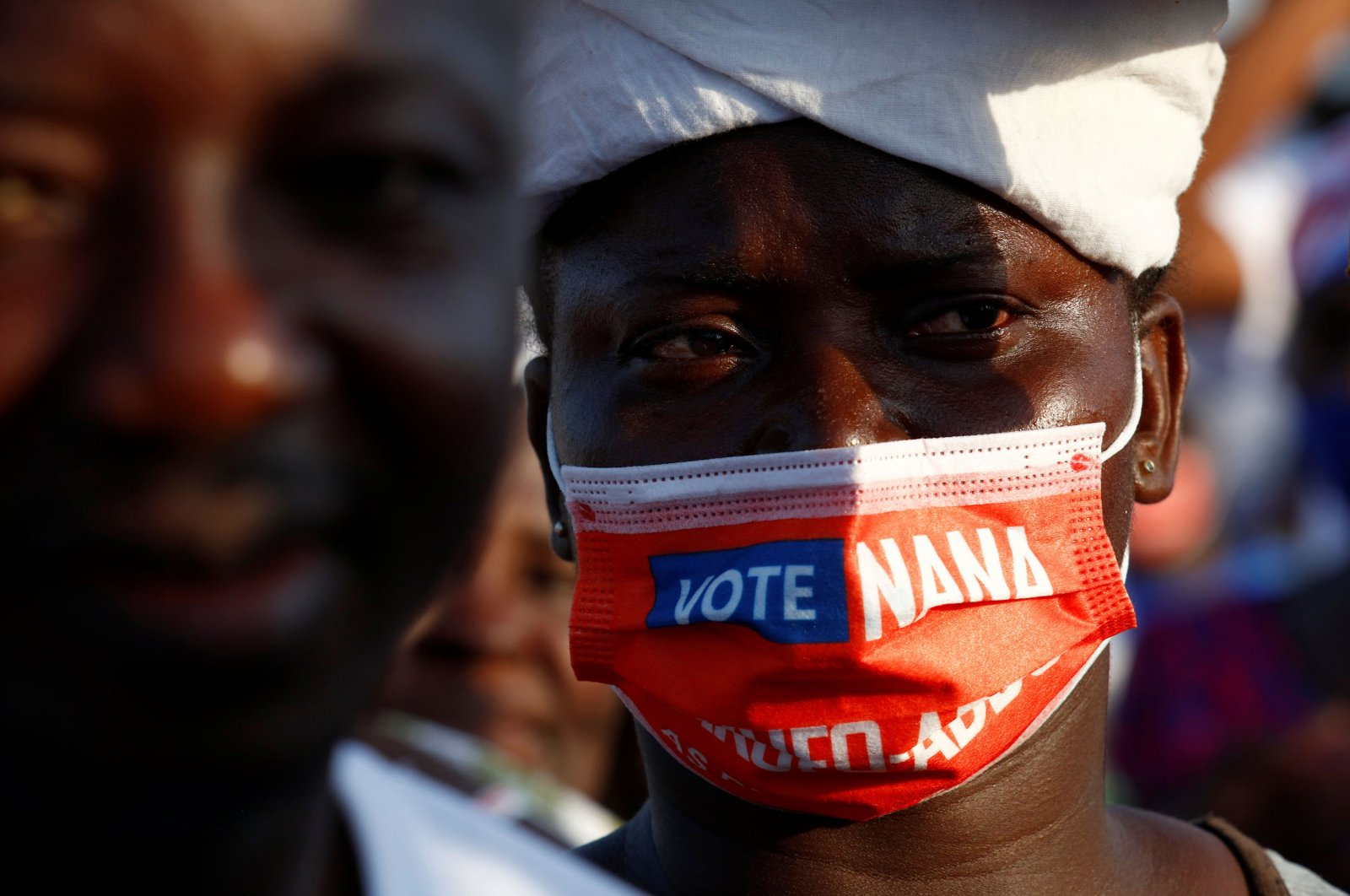 A supporter of Ghana's President Nana Akufo-Addo attends the final electoral campaign ahead of the presidential and parliamentary elections, in Accra, Ghana Dec. 5, 2020. (Reuters Photo)