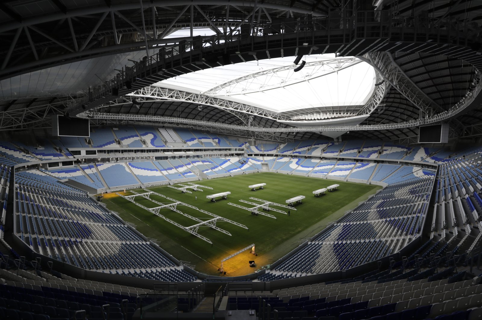 A view of the Al Janoub Stadium, one of the 2022 World Cup stadiums, in Doha, Qatar, Dec. 16, 2019. (AP Photo)