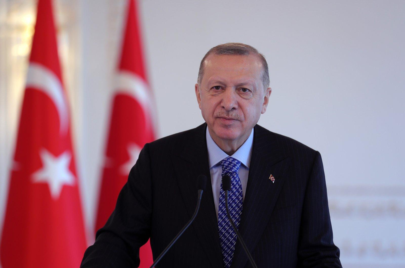President Recep Tayyip Erdoğan adresses a defense event via video link, Istanbul, Turkey, Dec. 5, 2020. (AA Photo)