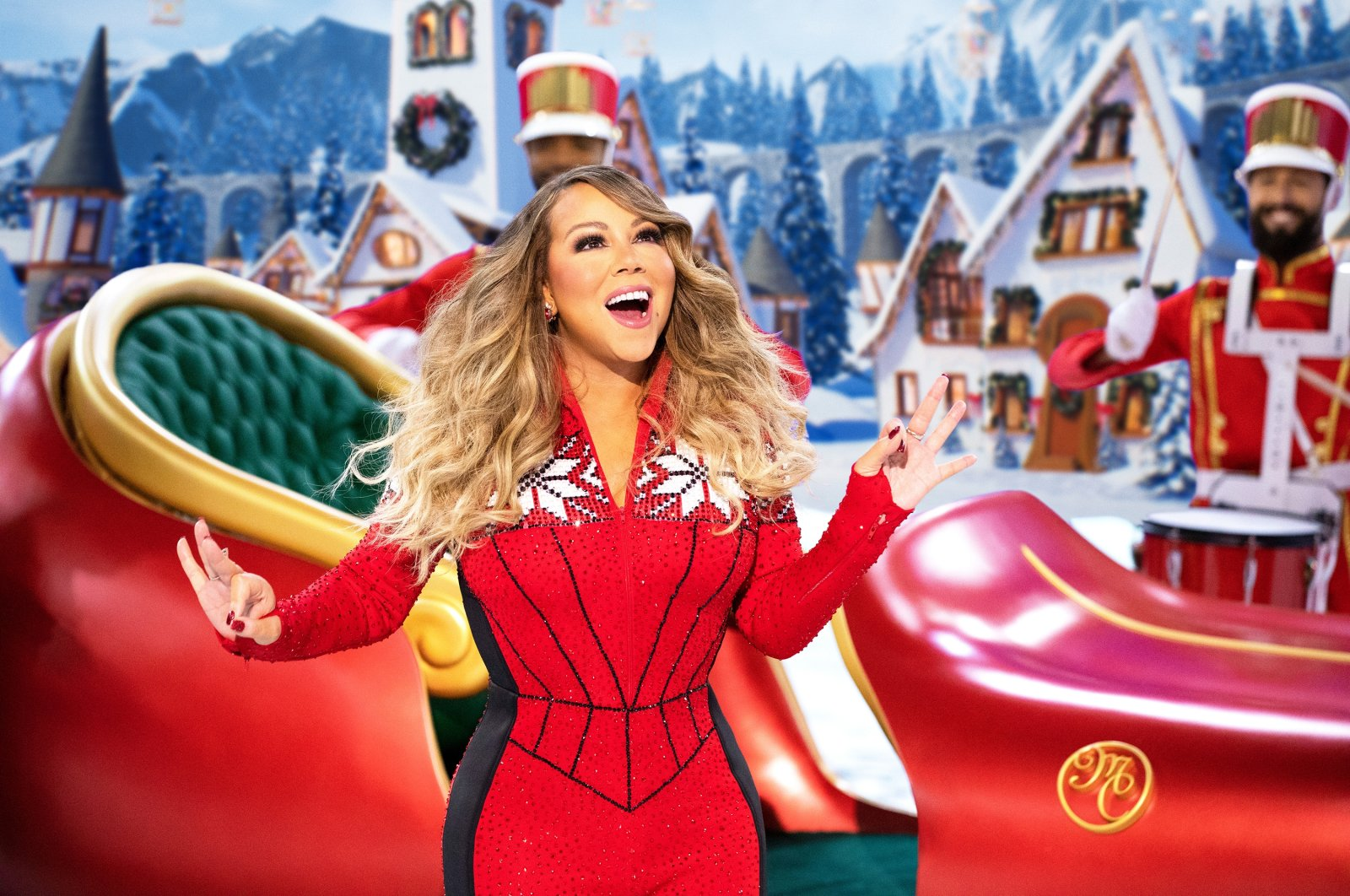 "Mariah Carey performs during her holiday special ""Mariah Carey's Magical Christmas Special"" available Friday on Apple TV . (Apple TV  via AP)"