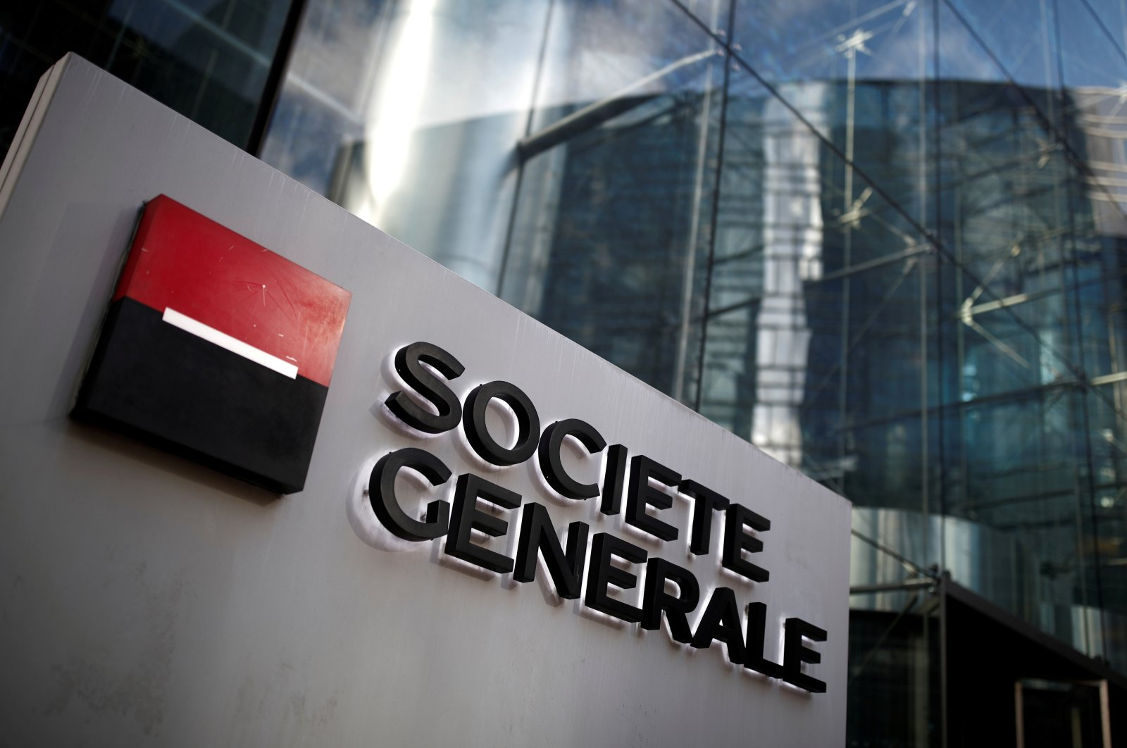 The logo of Societe Generale at its headquarters in the financial and business district of La Defense near Paris, France, Feb. 4, 2020. (Reuters Photo)