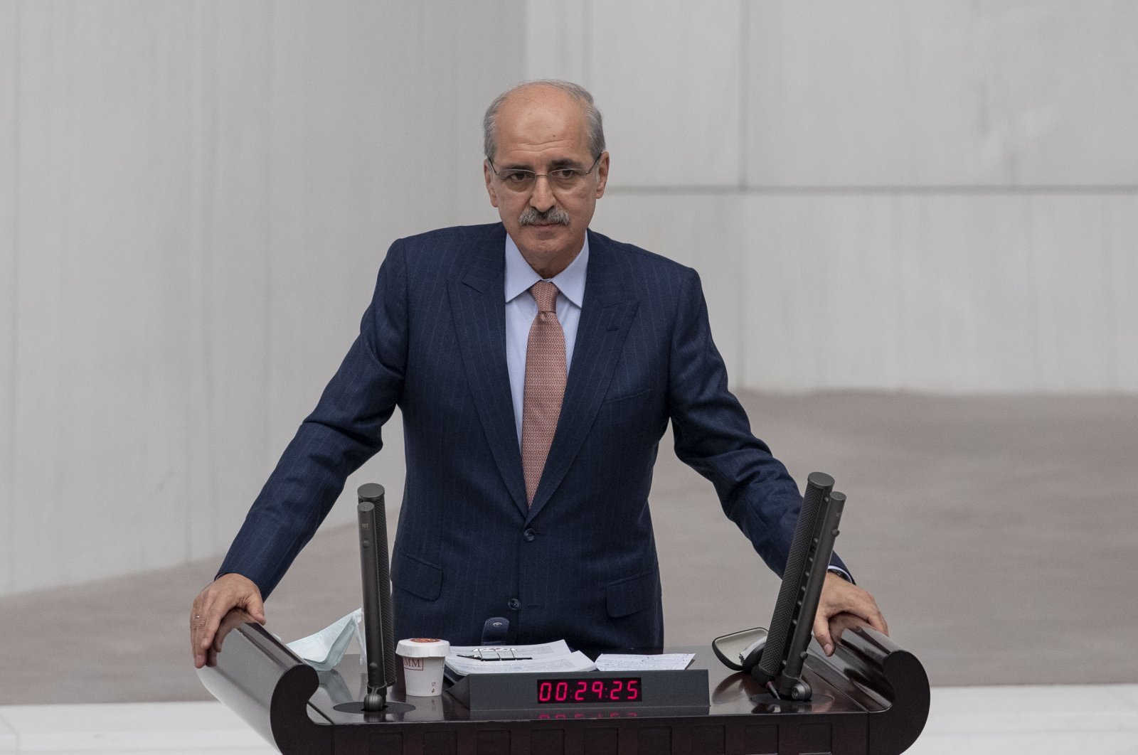 AK Party Deputy Chairperson Numan Kurtulmuş addresses lawmakers at a 2021 budget session in the Turkish Parliament on Dec. 7, 2020. (AA Photo)