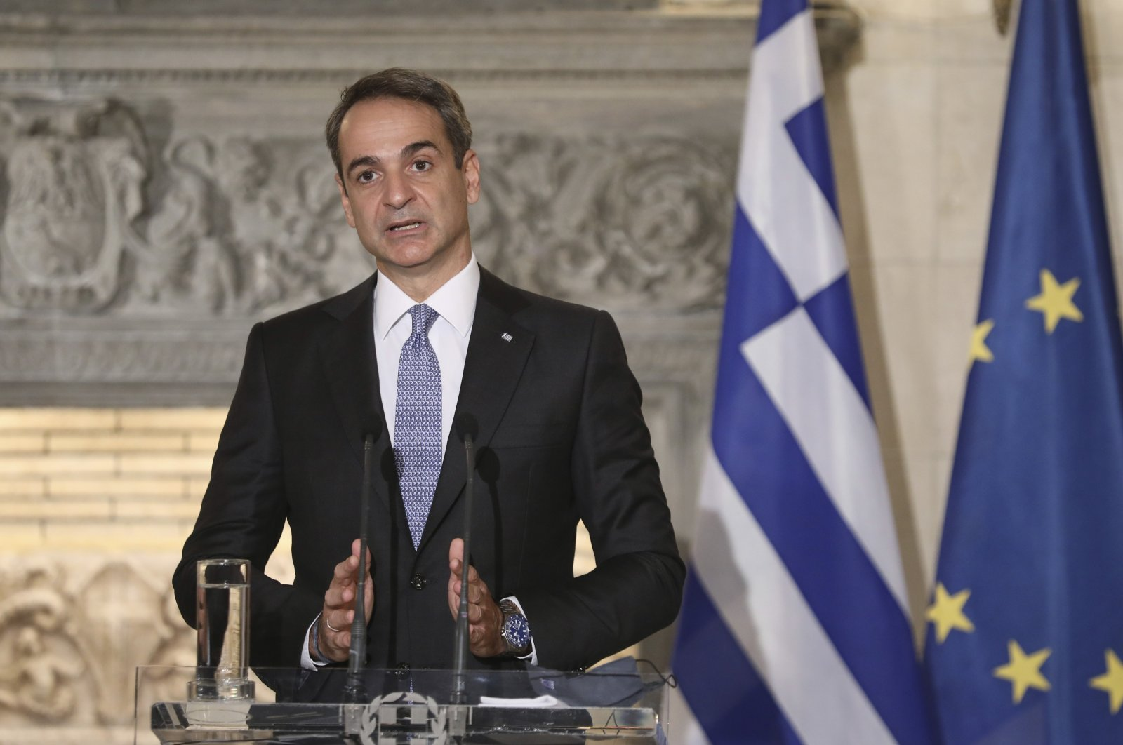 Greek Prime Minister Kyriakos Mitsotakis speaks during a joint news conference with Egyptian President Abdel Fattah al-Sissi at Maximos Mansion in Athens, Nov. 11, 2020. (AP File Photo)