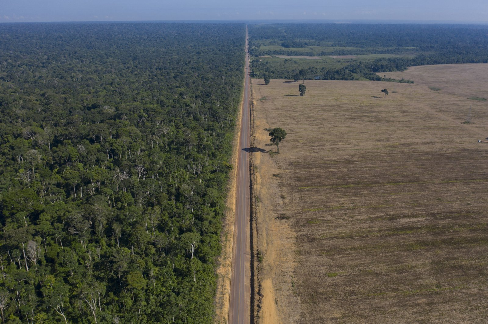 Highway BR-163 stretches between the Tapajos National Forest (L) and a soy field in Belterra, Brazil, Nov. 25, 2019. (AP Photo)