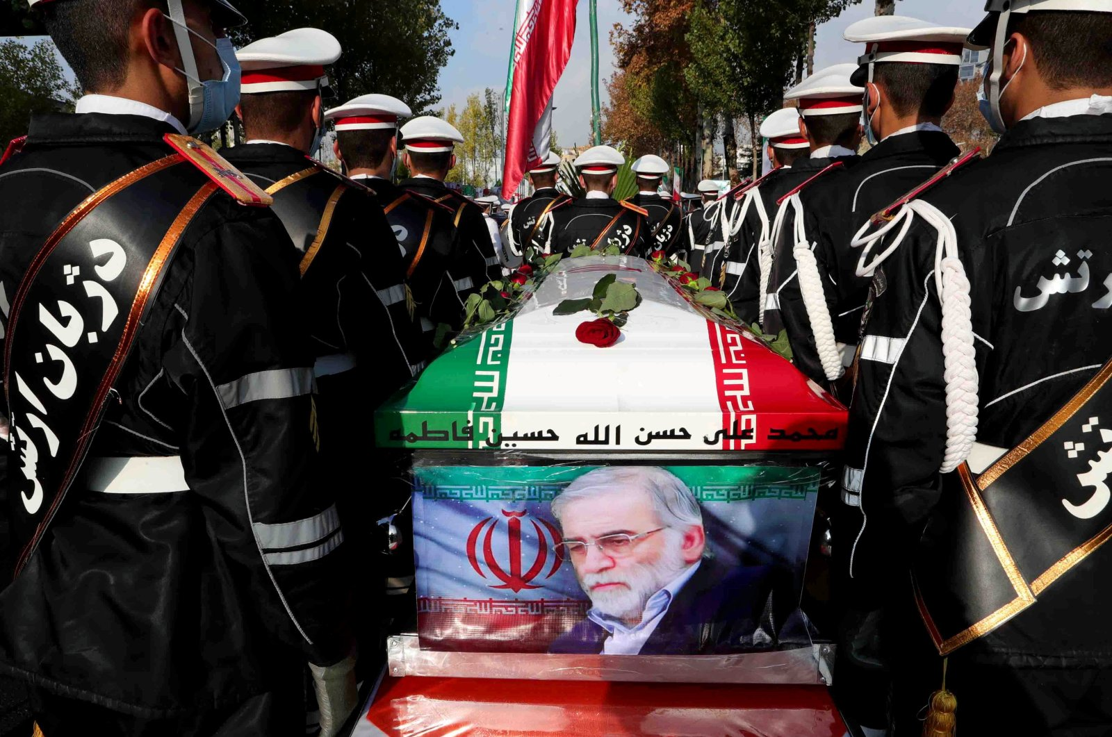 Members of Iranian forces carry the coffin of Iranian nuclear scientist Mohsen Fakhrizadeh during a funeral ceremony in Tehran, Iran on Nov. 30, 2020. (Reuters Photo)