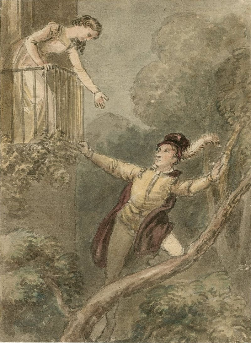 A watercolor painting by English artist John Masey Wright depicts the balcony scene from