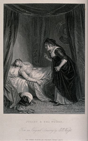 An engraving shows the nurse entering Juliet's bedroom to see if she is asleep.
