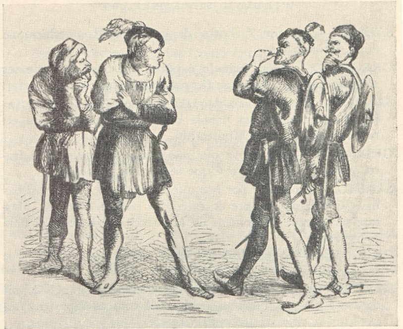 A lithograph shows the quarrel between the Capulets and the Montagues from