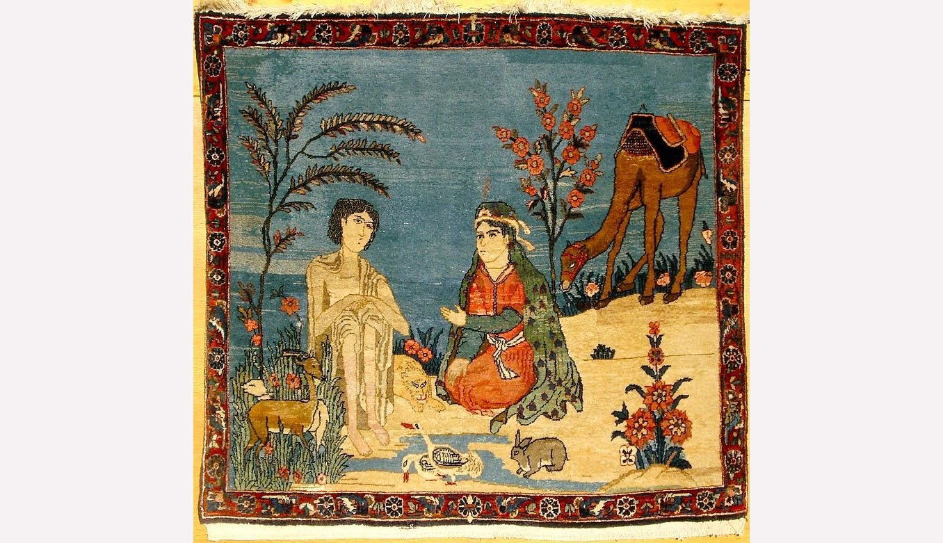 "Azerbaijani folk art based on the ""Layla and Majnun"" story."
