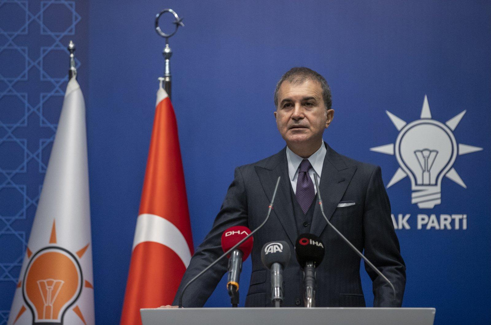 AK Party Spokesperson Ömer Çelik speaks to reporters at a news conference in Ankara on Dec. 8, 2020. (AA Photo)