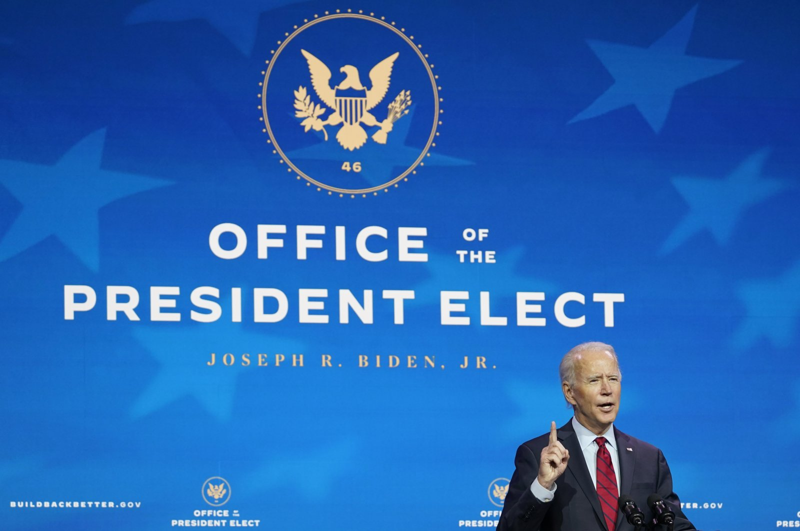 President-elect Joe Biden speaks during an event at The Queen theater in Wilmington, Delaware, U.S., Dec. 8, 2020. (AP Photo)