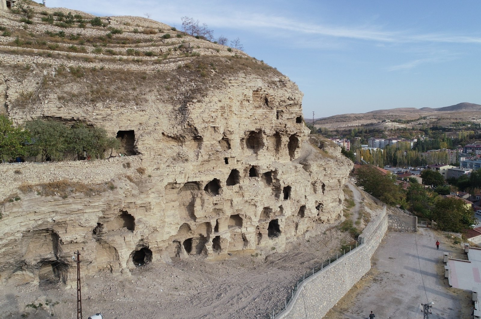 A network of caves, known by locals as an ancient apartment complex, is located in the Gürün district of Sivas province, central Turkey, Dec. 7, 2020. (IHA Photo)