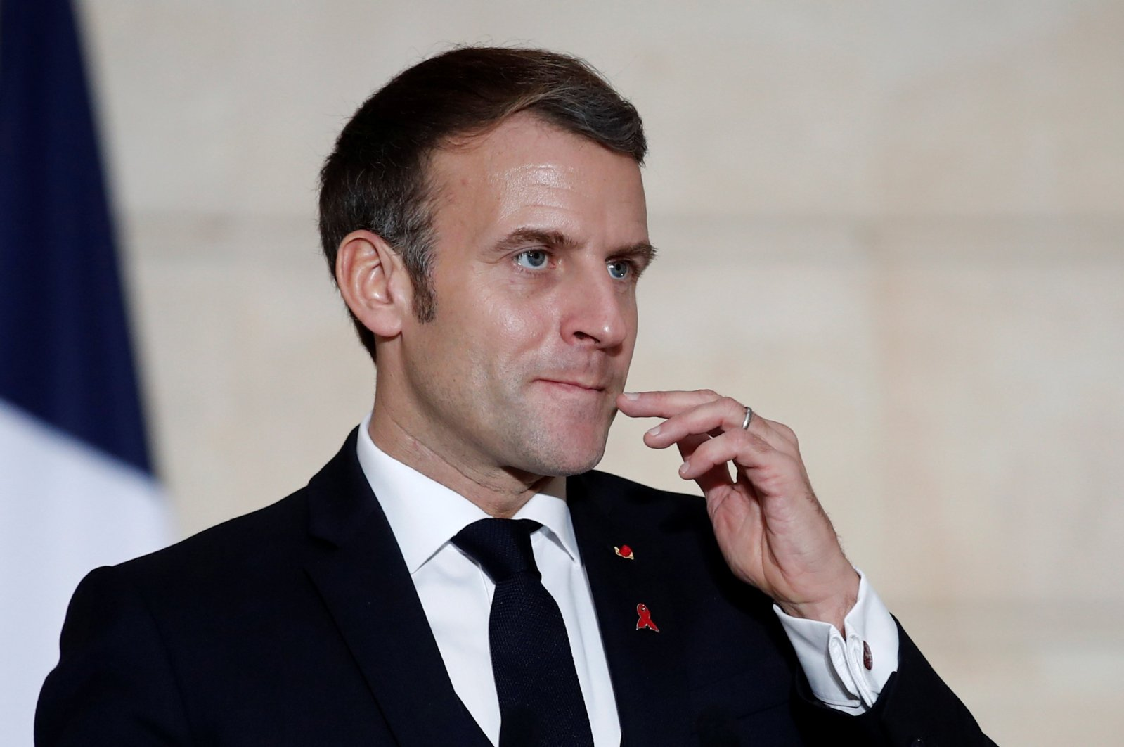 French President Emmanuel Macron gestures as he delivers a joint statement with Belgium's Prime Minister Alexander De Croo (not seen) after a meeting at the Elysee Palace in Paris, France, Dec. 1, 2020. (Reuters Photo)