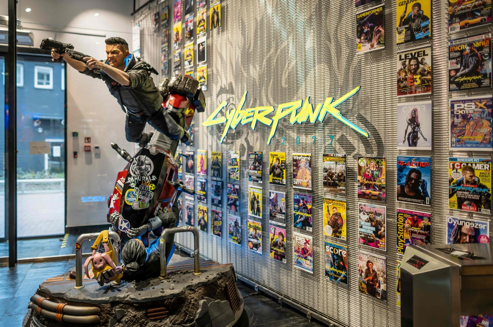 Cyberpunk character figures are seen at the headquarters of CD Projekt Red, the most prominent Polish game developer company in Warsaw, Poland on Dec. 4, 2020. (AFP Photo)
