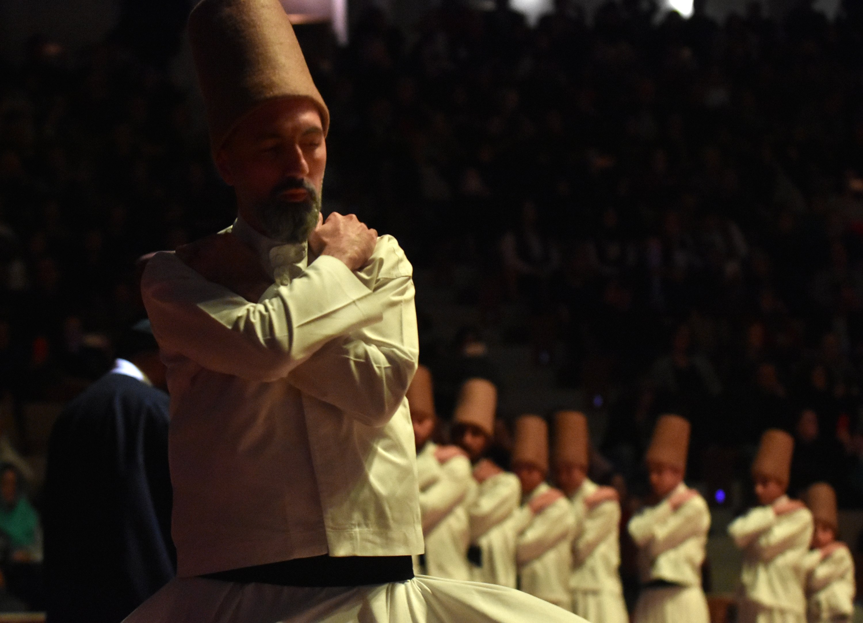 Whirling dervishes perform Sema with their arms across their chests to the accompaniment of music, Konya, central Turkey, Dec. 5, 2020. (DHA PHOTO)