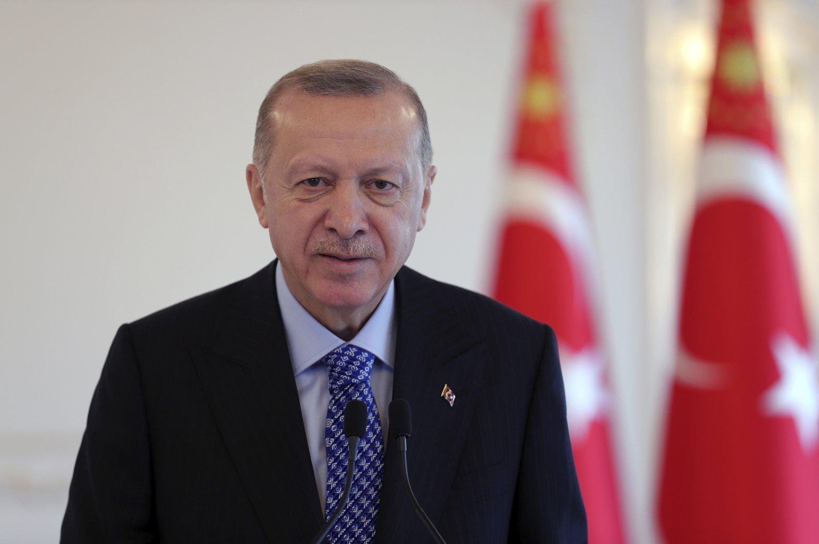 President Recep Tayyip Erdoğan speaks in Istanbul, Turkey, Dec. 5, 2020. (AP Photo)