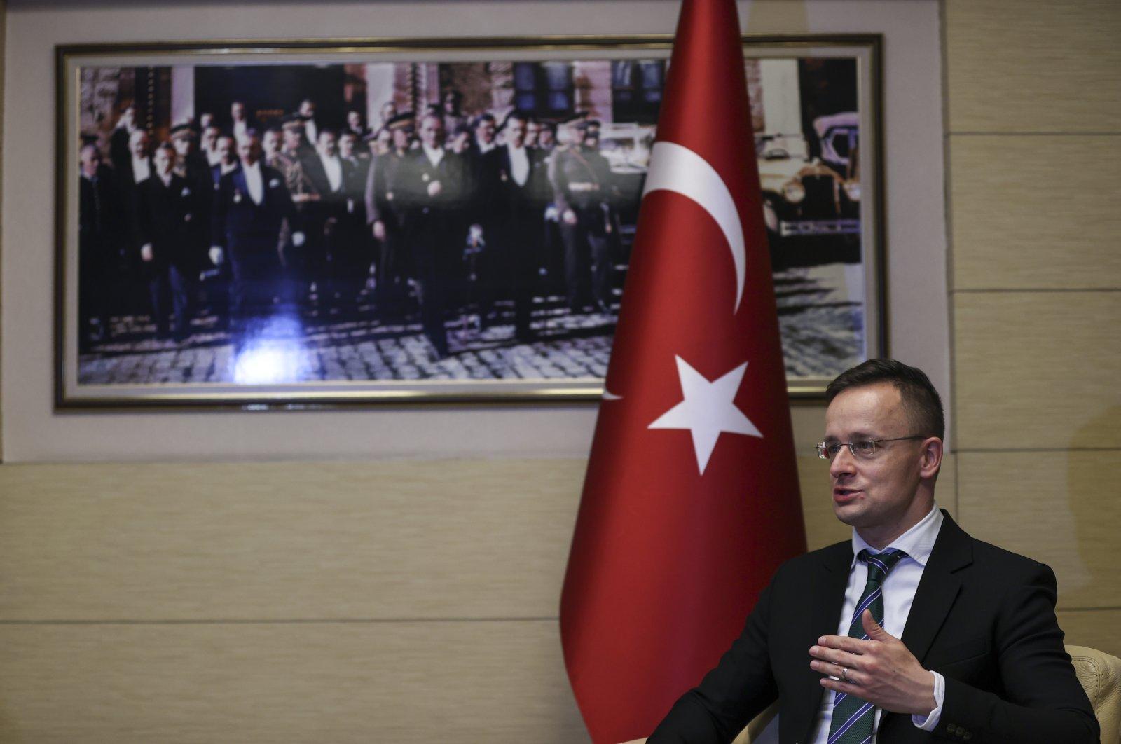 Hungary's Foreign Minister Peter Szijjarto speaks to the Anadolu Agency (AA) in the capital Ankara, Turkey, Dec. 9, 2020. (AA Photo)