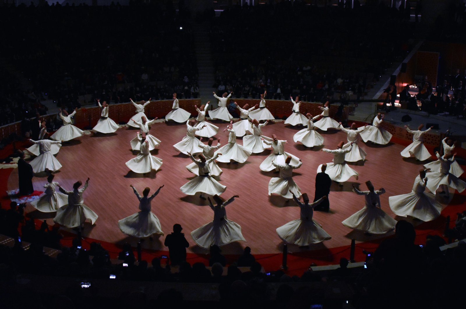 Whirling dervishes perform the Sema during a past Şeb-i Arus ceremony in Konya in this photo handed out on Dec. 5, 2020. (AA PHOTO)