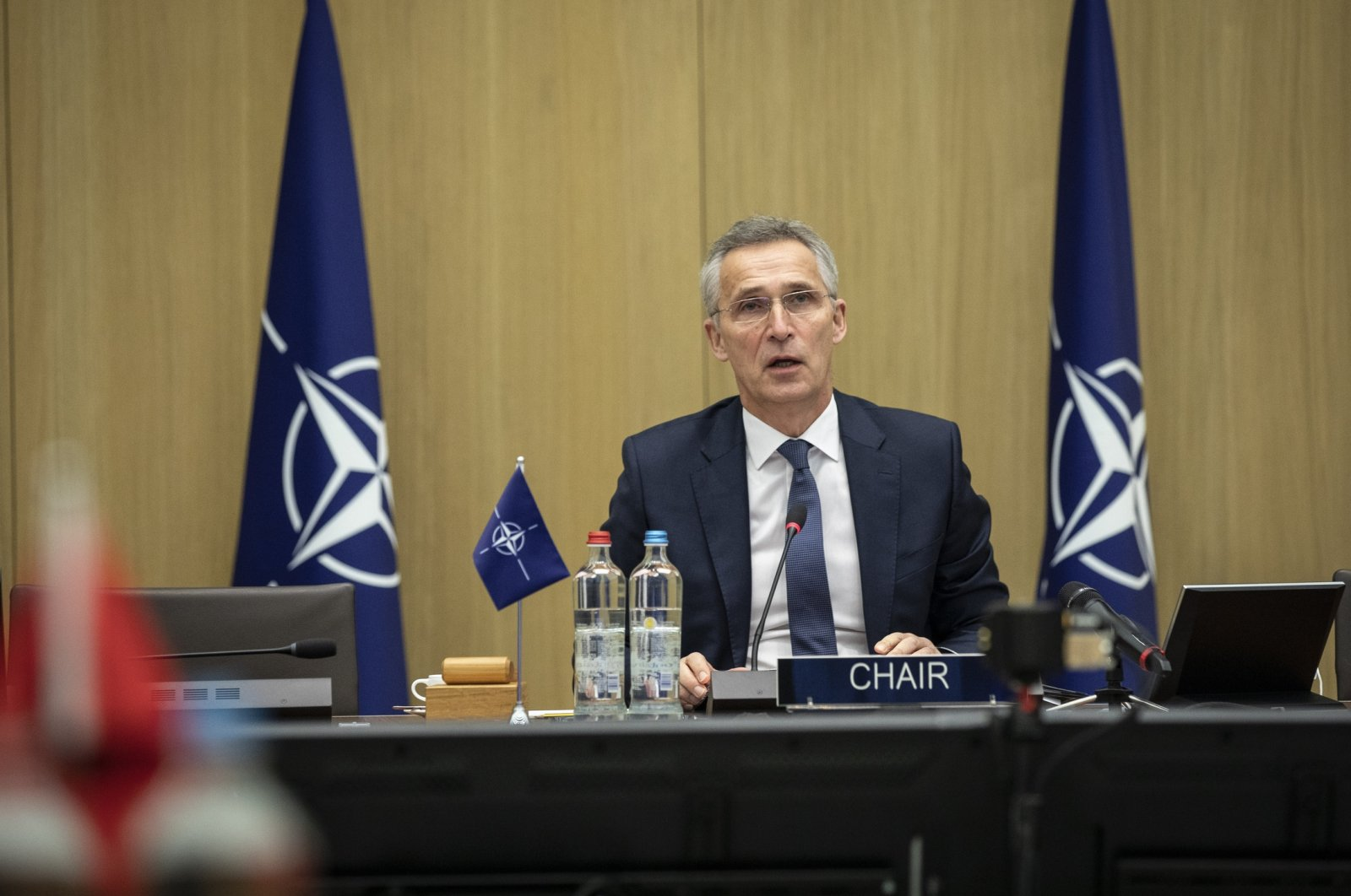 NATO Secretary-General Jens Stoltenberg speaks at the NATO foreign ministers meeting in Brussels, Belgium, Dec. 2, 2020. (AA Photo)