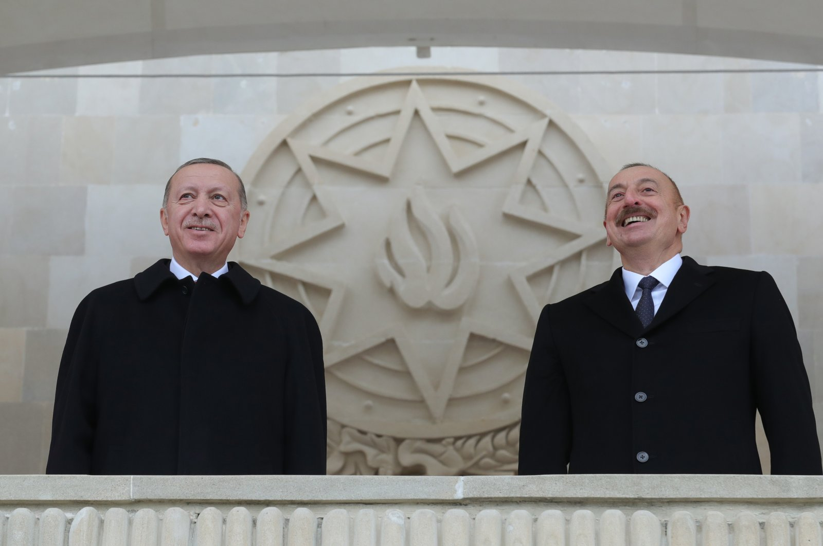 President Recep Tayyip Erdoğan (L) and his Azerbaijani counterpart Ilham Aliyev participate in a victory parade in Baku's Azadliq (Independence) Square to mark the liberation of the Karabakh territories from Armenian occupation, Azerbaijan, Dec. 10, 2020. (AA Photo)