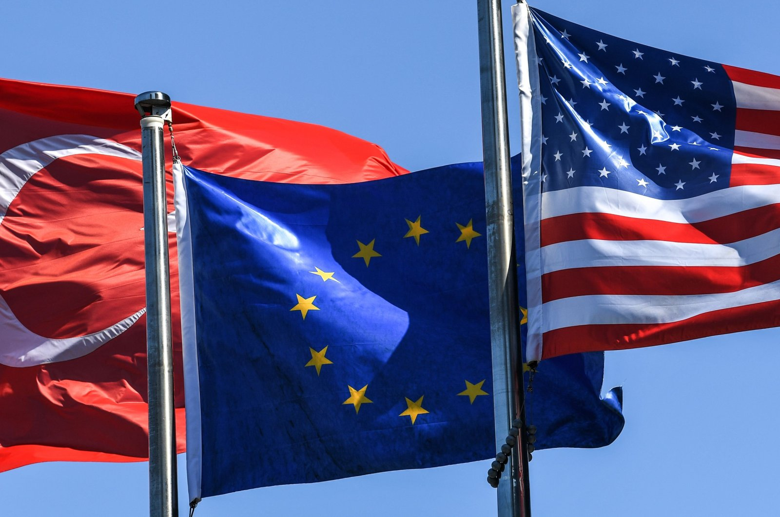 The flags of Turkey, the European Union and the United States wave in the wind in Istanbul's financial and business district Maslak, Turkey, Aug. 15, 2018. (AFP Photo)