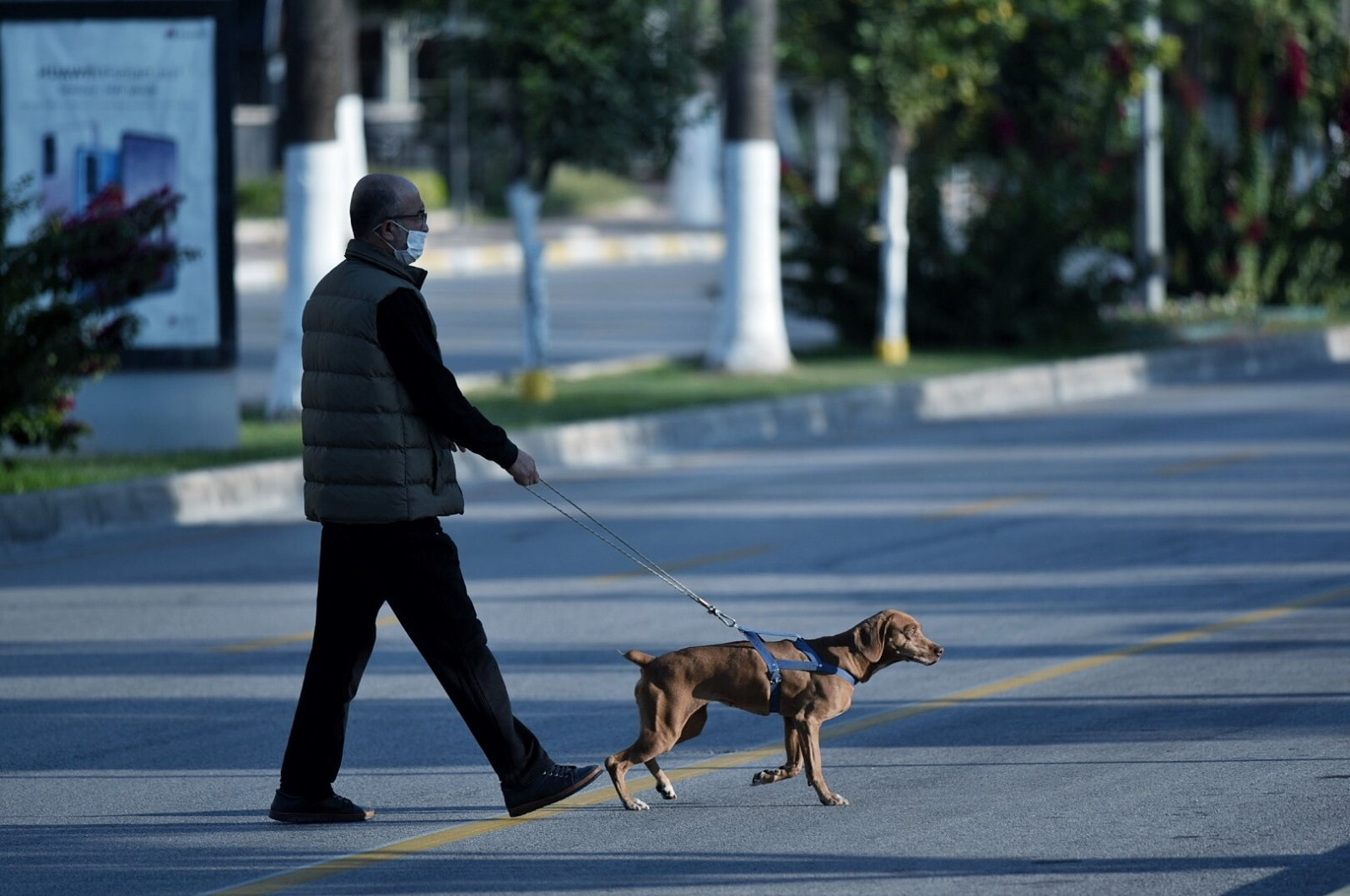 A man walks his dog during the weekend curfew, in Mersin, southern Turkey, Dec. 6, 2020. (AA Photo)