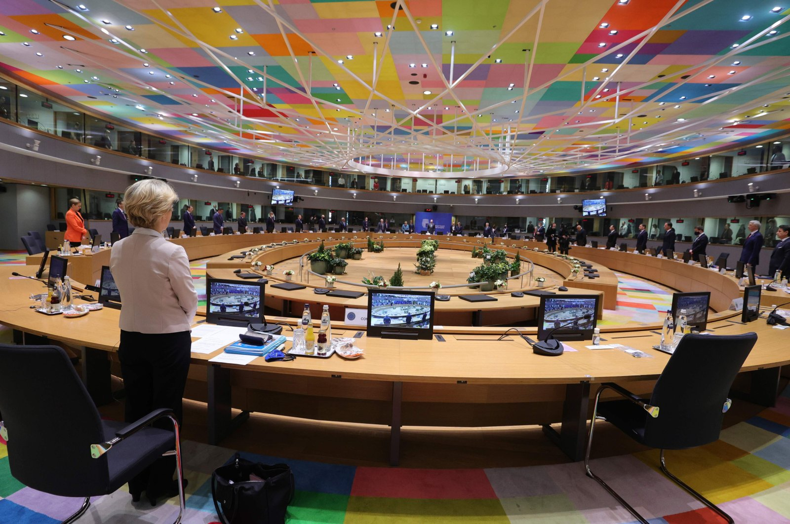 President of the European Commission Ursula von der Leyen (1st from left) and EU leaders observe a minute silent in tribute to late French President Valery Giscard d'Estaing prior to a round table meeting during an EU summit at the European Council building in Brussels, Belgium, Dec. 10, 2020. (AFP Photo)
