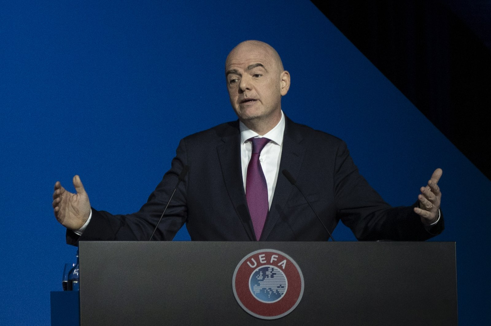 FIFA President Gianni Infantino addresses a meeting of European soccer leaders at the congress of the UEFA governing body in Amsterdam, Netherlands on March 3, 2020. (AP Photo)