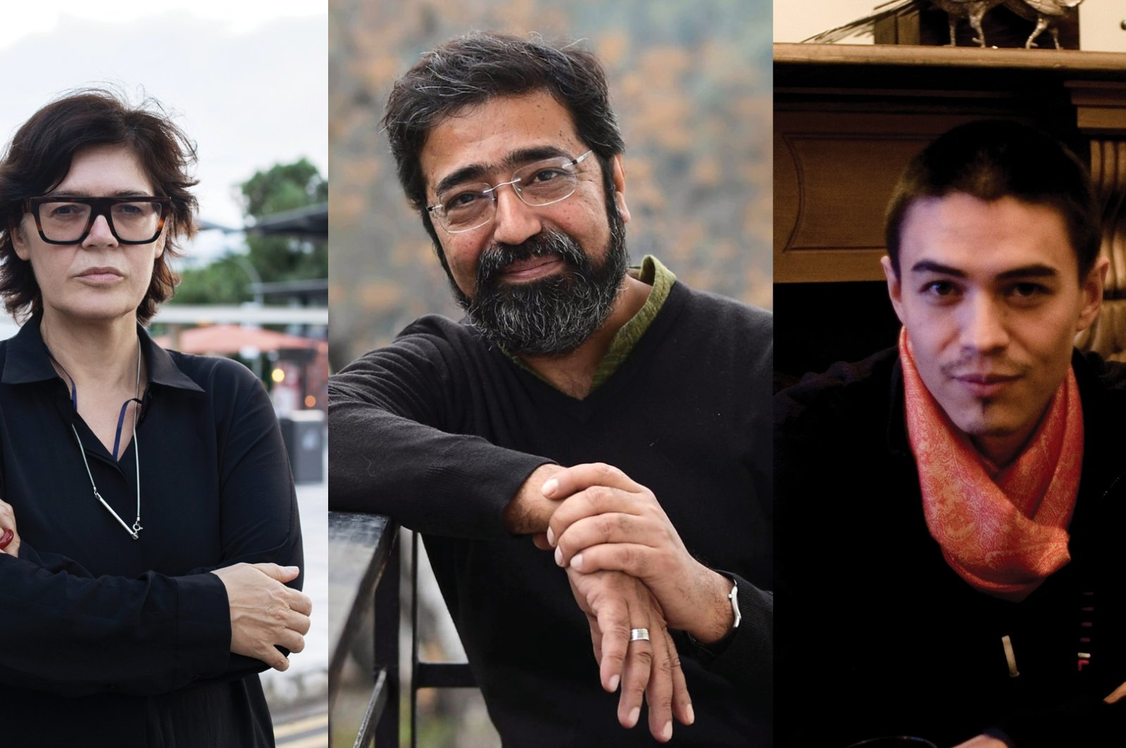 The curators of the 2021 Istanbul Biennial, Ute Meta Bauer, Amar Kanwar and David Teh, are seen from left to right in this photo collage.