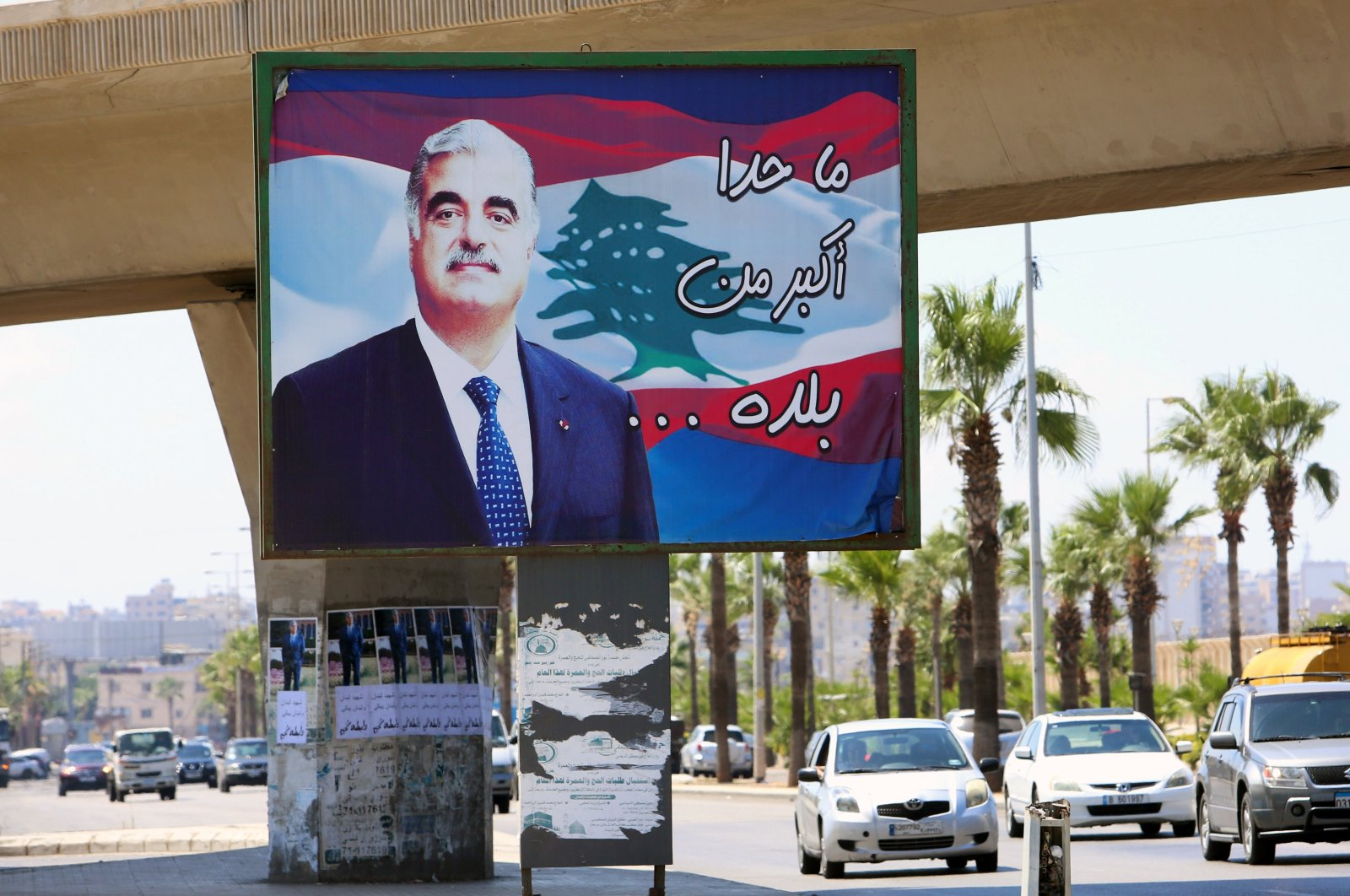 A billboard depicting Lebanon's former Prime Minister Rafik Hariri, who was killed in a bombing in 2005, is pictured in Sidon, southern Lebanon, Aug. 18, 2020. (Reuters Photo)