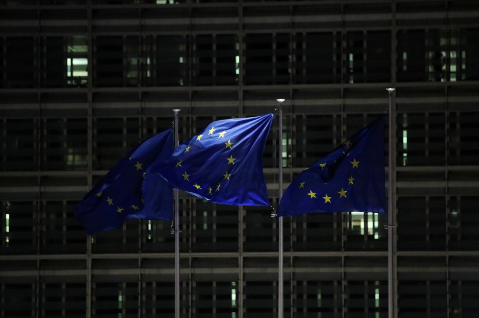 European Union flags flutter outside the European Commission headquarters during an EU leaders summit at the European Council headquarters, in Brussels, Belgium, Dec. 10, 2020. (Reuters Photo)