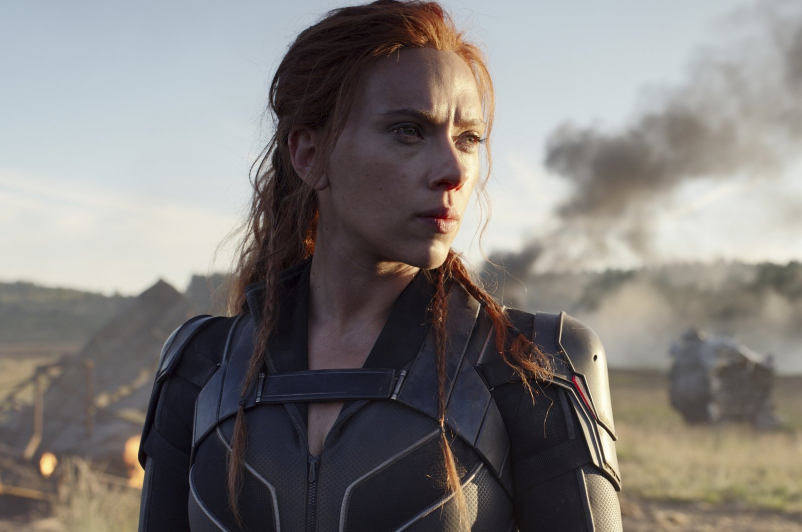 """This image released by Disney/Marvel Studios' shows Scarlett Johansson in a scene from """"Black Widow."""" (AP Photo)"""