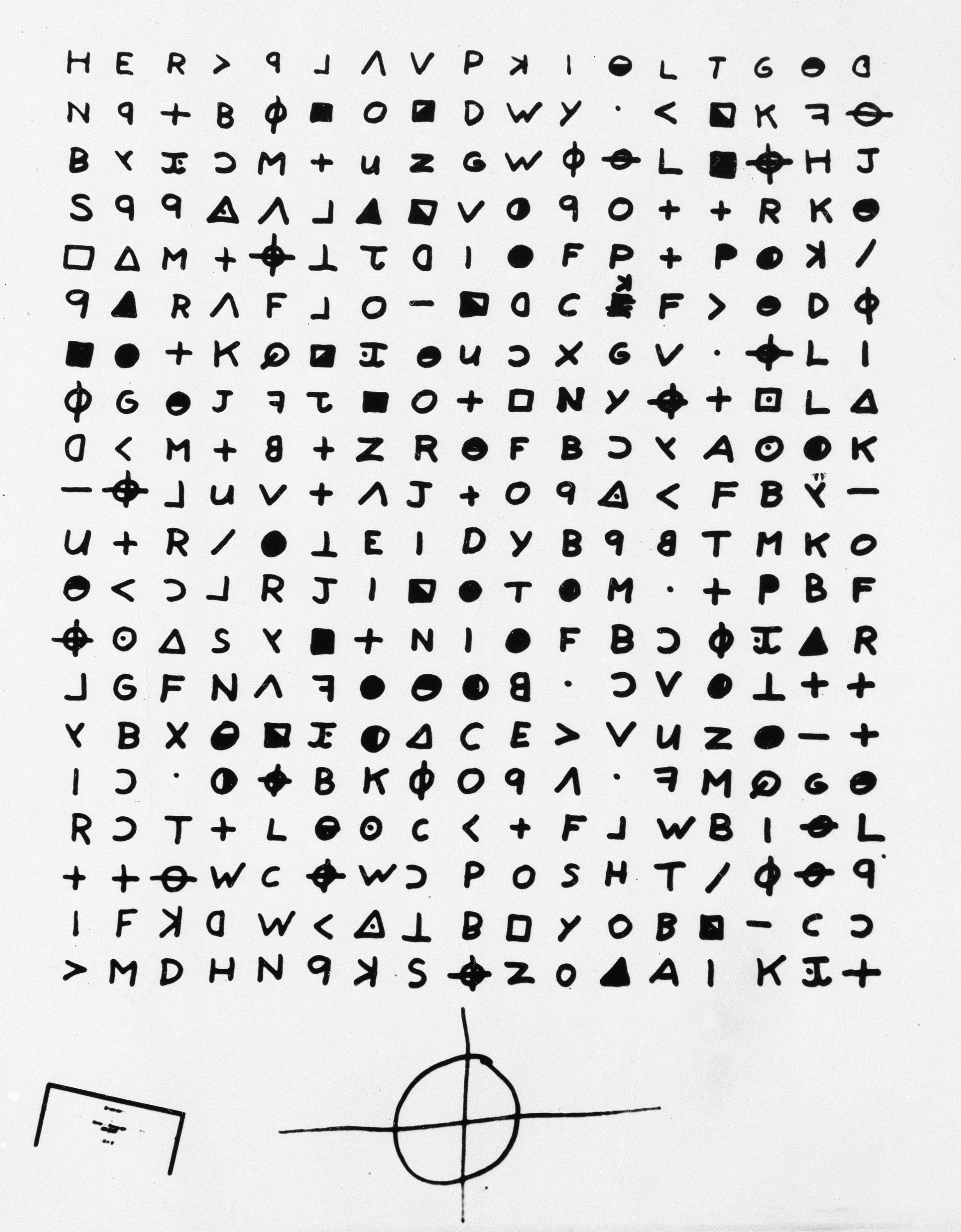 A copy of a cryptogram sent to the San Francisco Chronicle in 1969 by the Zodiac Killer. (San Francisco Chronicle via AP)