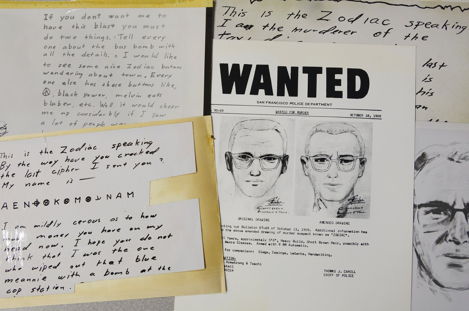 A San Francisco Police Department wanted bulletin and copies of letters sent to the San Francisco Chronicle by a man who called himself Zodiac are displayed in San Francisco, May 3, 2018. (AP Photo)