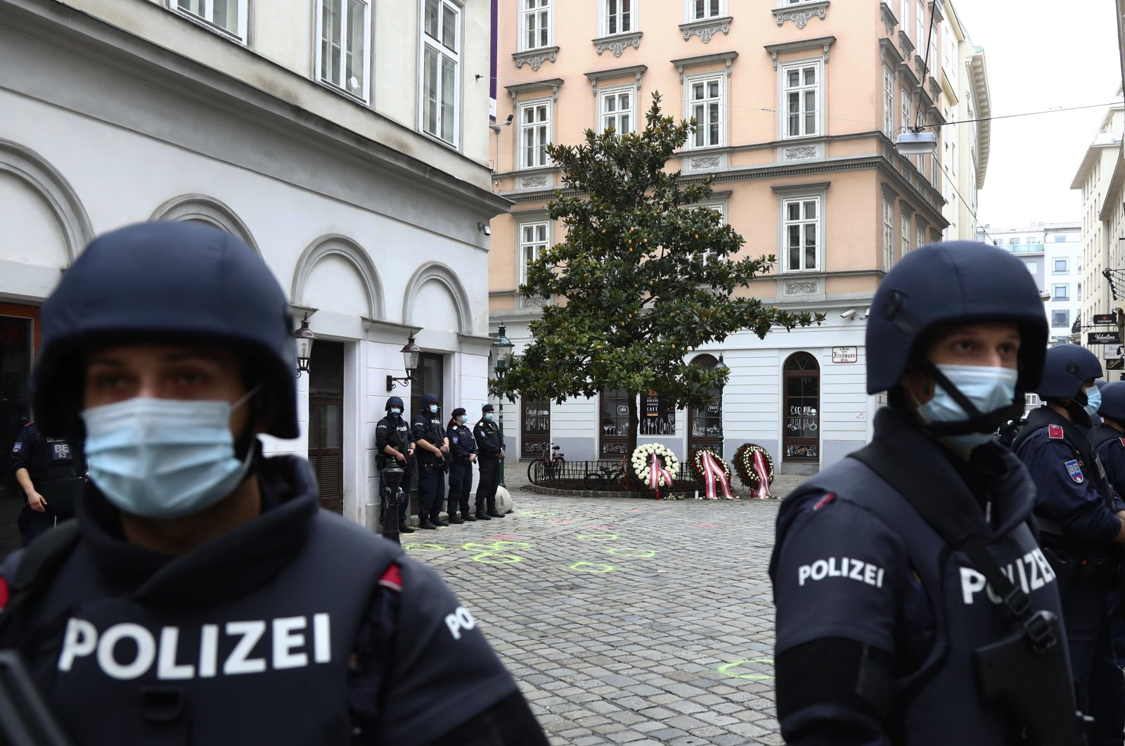 Police officers stand guard in Vienna, Austria, Nov. 3, 2020. (AP Photo)