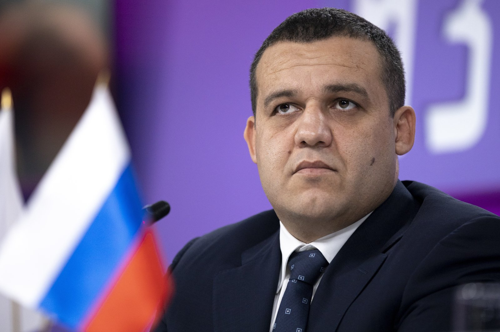 Umar Kremlev listens to a question during a news conference in Moscow, Russia, Oct. 27, 2020. (AP Photo)